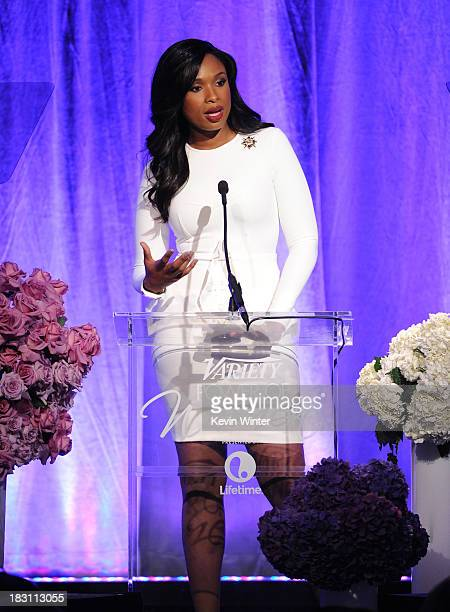 Honoree Jennifer Hudson accepts the Samsung Impact Award onstage during Variety's 5th Annual Power of Women event presented by Lifetime at the...