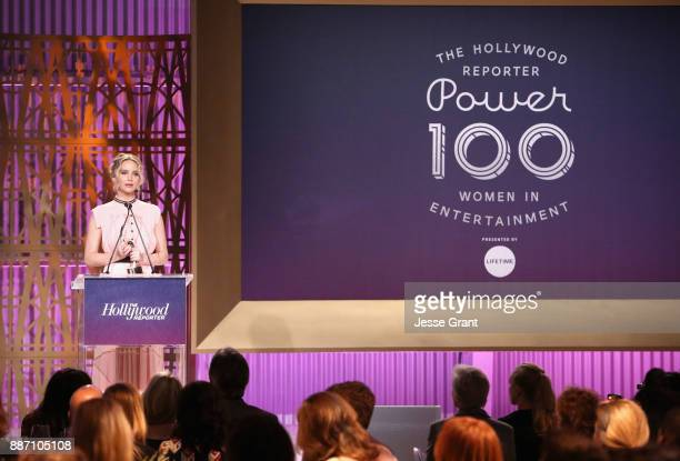 Honoree Jennifer Lawrence accepts award onstage at The Hollywood Reporter's 2017 Women In Entertainment Breakfast at Milk Studios on December 6 2017...