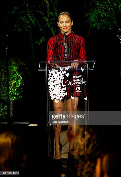 Honoree Jennifer Lopez speaks onstage at 2014 Variety Power of Women presented by Lifetime at Beverly Wilshire Four Seasons on October 10 2014 in Los...