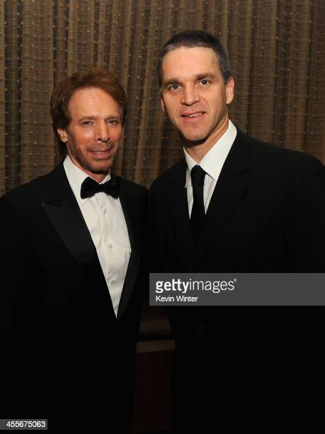 Honoree Jerry Bruckheimer and Los Angeles Kings Business Operations President Luc Robitaille attend the 27th American Cinematheque Award honoring...