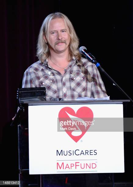 Honoree Jerry Cantrell speaks onstage during the 8th Annual MusiCares MAP Fund Benefit at Club Nokia on May 31 2012 in Los Angeles California The...