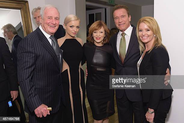 Honoree Jerry Weintraub actors Francesca Eastwood Frances Fisher honoree Arnold Schwarzenegger and Heather Milligan attend the 24th Annual...