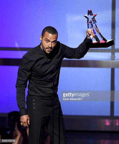 Honoree Jesse Williams accepts the Humanitarian Award onstage during the 2016 BET Awards at the Microsoft Theater on June 26 2016 in Los Angeles...
