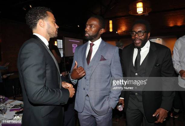 Honoree Jesse Williams Moving Mountains Founder Jamie Hector and actor Chad Coleman attend the 2019 Moving Mountains Gala on June 4 2019 in New York...