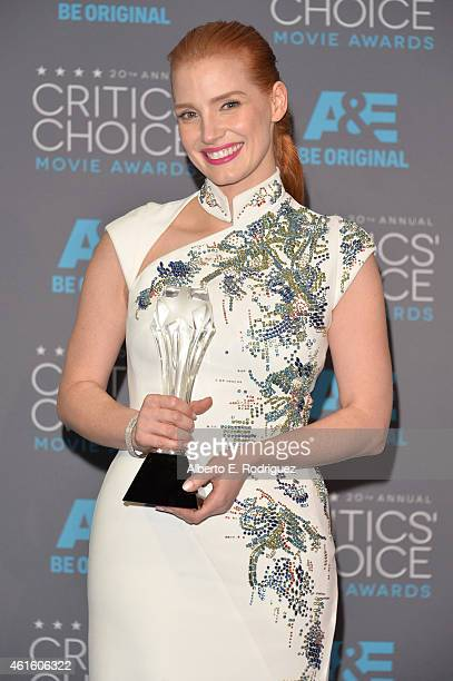 Honoree Jessica Chastain recipient of the Critic's Choice MVP Award poses in the press room during the 20th annual Critics' Choice Movie Awards at...