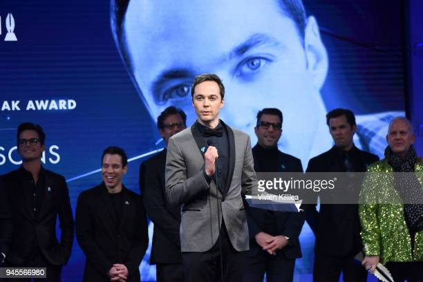 Honoree Jim Parsons accepts the Stephen F Kolzak Award onstage at the 29th Annual GLAAD Media Awards at The Beverly Hilton Hotel on April 12 2018 in...