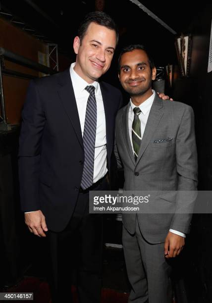 Honoree Jimmy Kimmel and Aziz Ansari attend Variety's 4th Annual Power of Comedy presented by Xbox One benefiting the Noreen Fraser Foundation at...