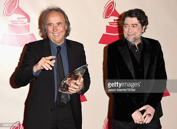 Honoree Joan Manuel Serrat and singer Joaquin Sabina attend the 2014 Person of the Year honoring Joan Manuel Serrat at the Mandalay Bay Events Center...