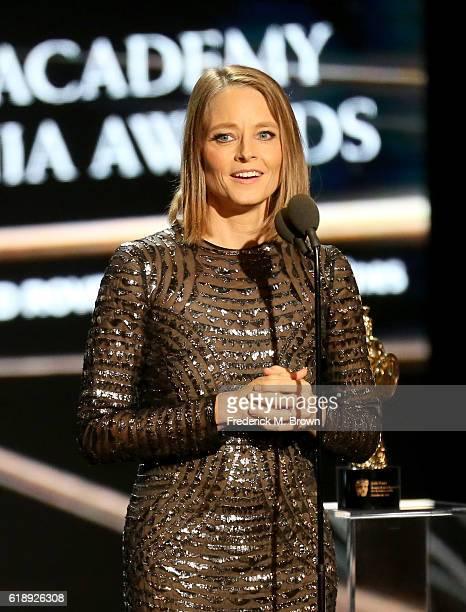 Honoree Jodie Foster accepts the Stanley Kubrick Britannia Award for Excellence in Film onstage during the 2016 AMD British Academy Britannia Awards...