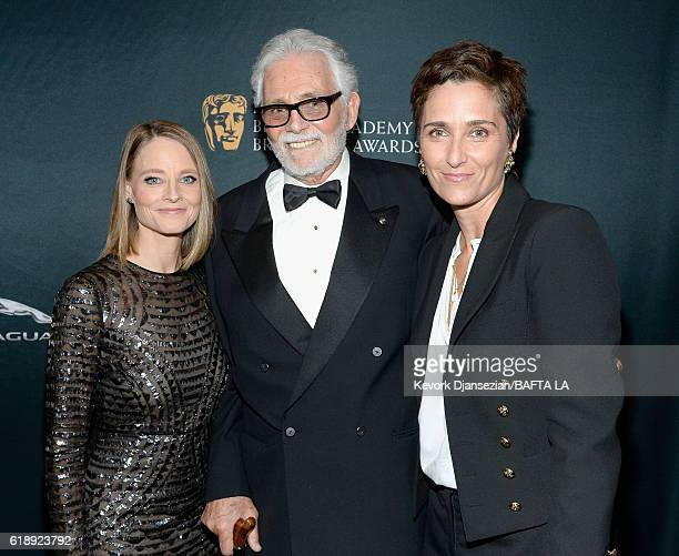 Honoree Jodie Foster, actor David Hedison, and photographer/director Alexandra Hedison attend the 2016 AMD British Academy Britannia Awards presented...