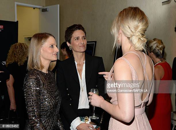 Honoree Jodie Foster photographer Alexandra Hedison and actress Jennifer Lawrence attend the 2016 AMD British Academy Britannia Awards presented by...