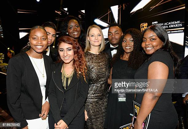 Honoree Jodie Foster poses with students from George Washington Preparatory High School during the 2016 AMD British Academy Britannia Awards...