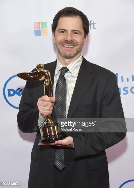 Honoree Joe Michaels poses with the Lumiere Technology Award at the Advanced Imaging Society 2018 Lumiere Technology Awards Featuring The...