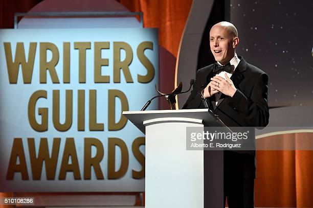 Honoree John August accepts the Valentine Davies Award onstage during the 2016 Writers Guild Awards at the Hyatt Regency Century Plaza on February 13...