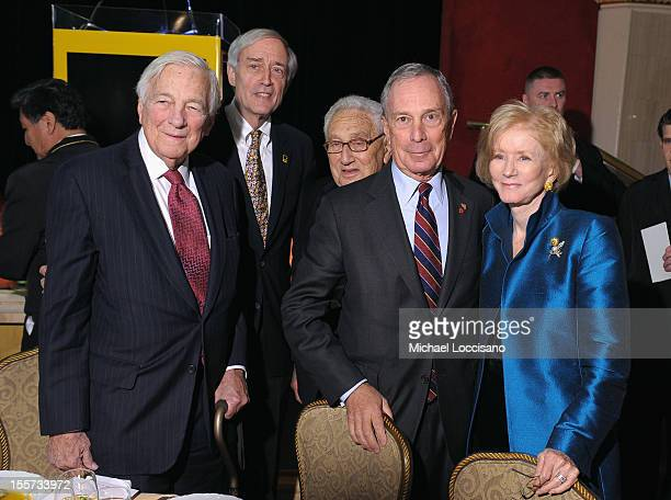 Honoree John C Whitehead George Rupp Henry A Kissinger Mayor Michael Bloomberg and Nancy Whitehead attend the annual Freedom Award Benefit hosted by...