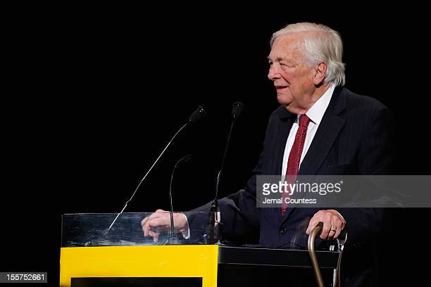 Honoree John C Whitehead speaks onstage at the annual Freedom Award Benefit hosted by the International Rescue Committee at The Waldorf=Astoria on...
