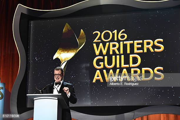 Honoree John McNamara accepts the Paul Selvin Award onstage during the 2016 Writers Guild Awards at the Hyatt Regency Century Plaza on February 13...