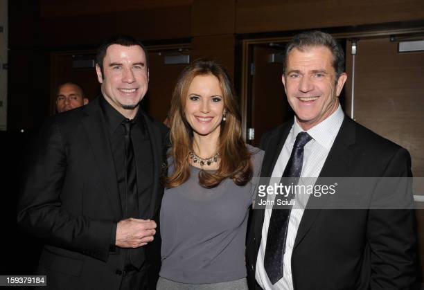 Honoree John Travolta, actors Kelly Preston and Mel Gibson attend the 2013 G'Day USA Los Angeles Black Tie Gala at JW Marriott Los Angeles at L.A....