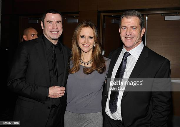 Honoree John Travolta actors Kelly Preston and Mel Gibson attend the 2013 G'Day USA Los Angeles Black Tie Gala at JW Marriott Los Angeles at LA LIVE...