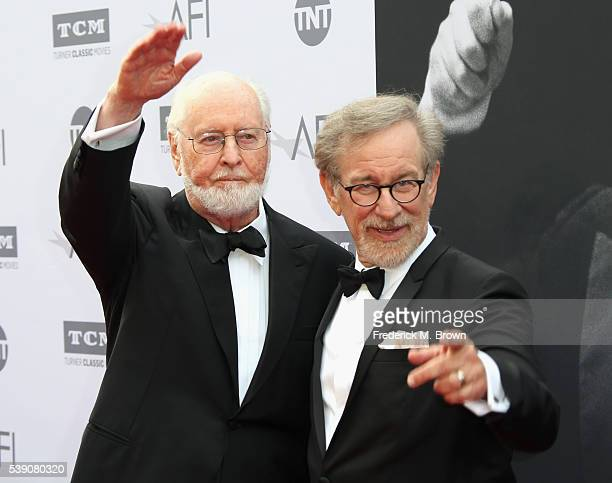Honoree John Williams and director Steven Spielberg arrive at the American Film Institute's 44th Life Achievement Award Gala Tribute to John Williams...
