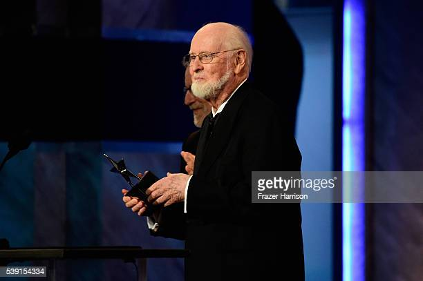 Honoree John Williams onstage during American Film Institute's 44th Life Achievement Award Gala Tribute show to John Williams at Dolby Theatre on...