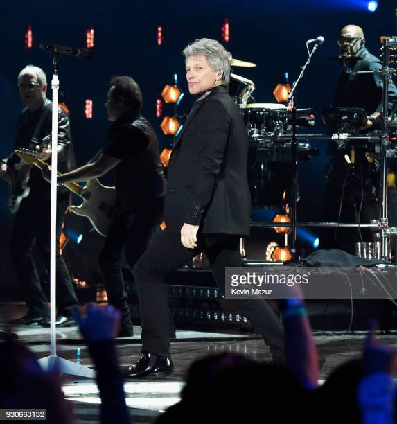 Honoree Jon Bon Jovi of Bon Jovi performs onstage during the 2018 iHeartRadio Music Awards which broadcasted live on TBS TNT and truTV at The Forum...
