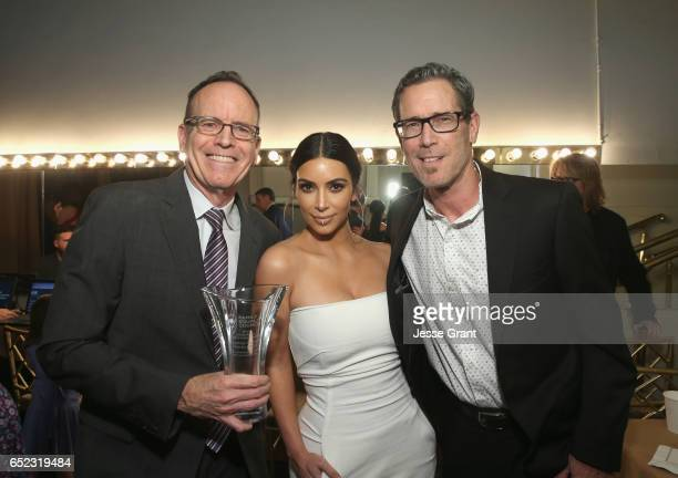 Honoree Jonathan Murray television personality Kim Kardashian and honoree Harvey Reese attend the Family Equality Council's Impact Awards at the...