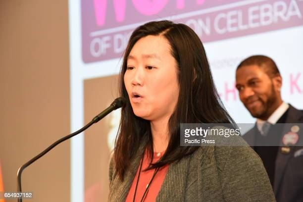 Honoree JooHyun Kang speaks NY City Council Members Jumaane Williams Laurie Cumbo presided over an evening of Shirley Chisholm Women of Distinction...