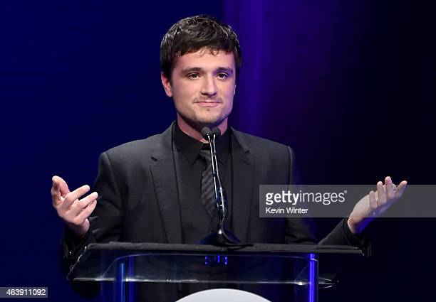 Honoree Josh Hutcherson accepts the Young Humanitarian Award onstage at the 2nd Annual unite4humanity presented by ALCATEL ONETOUCH at the Beverly...