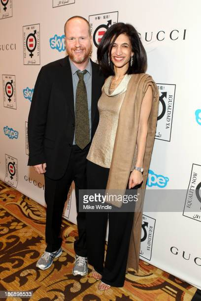 Honoree Joss Whedon and Global Director of Equality Now Yasmeen Hassan attend Equality Now presents 'Make Equality Reality' at Montage Hotel on...