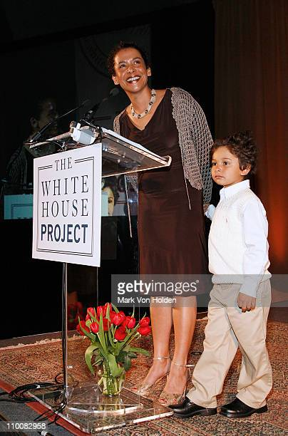 Honoree Journalist Mariane Pearl speaks with son Adam Pearl at the The White House Project's 2008 Epic Awards on April 18, 2008 in New York City.