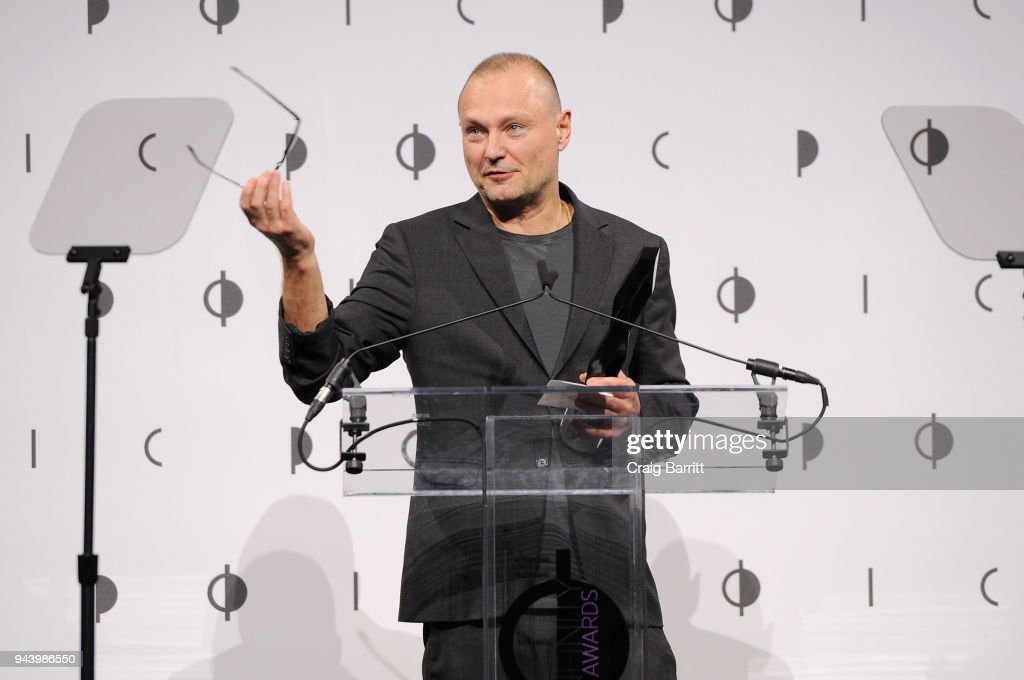 Honoree Juergen Teller speaks onstage during the International Center Of Photography's 2018 Infinity Awards on April 9, 2018 in New York City.