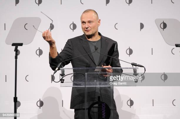 Honoree Juergen Teller speaks onstage during the International Center Of Photography's 2018 Infinity Awards on April 9 2018 in New York City