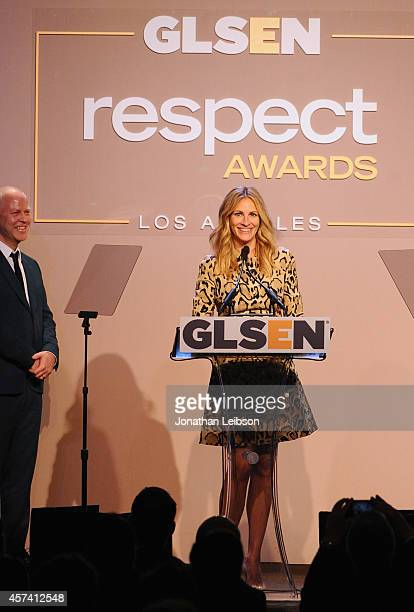 Honoree Julia Roberts accepts the GLSEN Respect Humanitarian Award onstage from writer/director Ryan Murphy during the 10th annual GLSEN Respect...