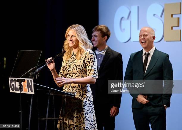 Honoree Julia Roberts accepts the GLSEN Respect Humanitarian Award from student ambassador of GLSEN Mark Pino and writer/director Ryan Murphy at the...