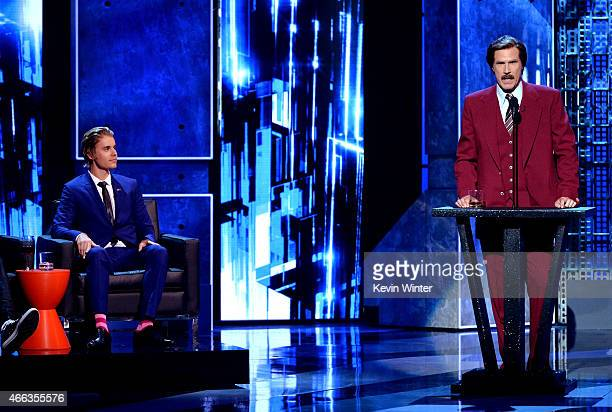 Honoree Justin Bieber and actor Will Ferrell onstage at The Comedy Central Roast of Justin Bieber at Sony Pictures Studios on March 14, 2015 in Los...