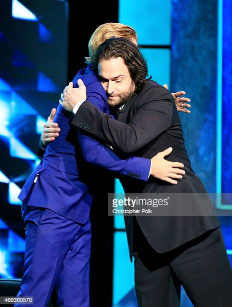 Honoree Justin Bieber and comedian Chris D'Elia onstage at The Comedy Central Roast of Justin Bieber at Sony Pictures Studios on March 14 2015 in Los...