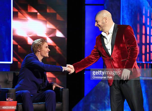 Honoree Justin Bieber and comedian Jeff Ross onstage at The Comedy Central Roast of Justin Bieber at Sony Pictures Studios on March 14 2015 in Los...