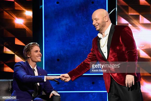 Honoree Justin Bieber and comedian Jeff Ross speak onstage at The Comedy Central Roast of Justin Bieber at Sony Pictures Studios on March 14, 2015 in...