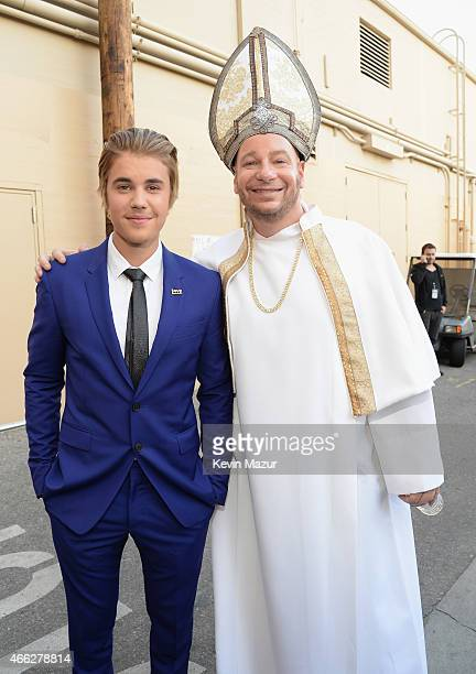 Honoree Justin Bieber and comedian Jeffrey Ross attend The Comedy Central Roast of Justin Bieber at Sony Pictures Studios on March 14 2015 in Los...