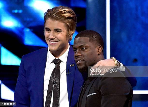 Honoree Justin Bieber and comedian Kevin Hart onstage at The Comedy Central Roast of Justin Bieber at Sony Pictures Studios on March 14 2015 in Los...