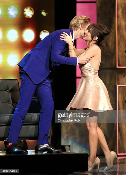 Honoree Justin Bieber and comedian Natasha Leggero onstage at The Comedy Central Roast of Justin Bieber at Sony Pictures Studios on March 14 2015 in...