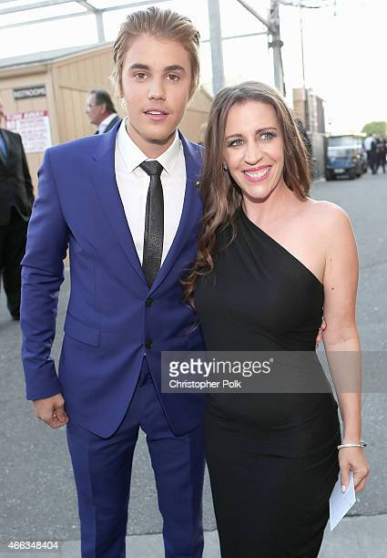 Honoree Justin Bieber and Pattie Mallette attend The Comedy Central Roast of Justin Bieber at Sony Pictures Studios on March 14 2015 in Los Angeles...