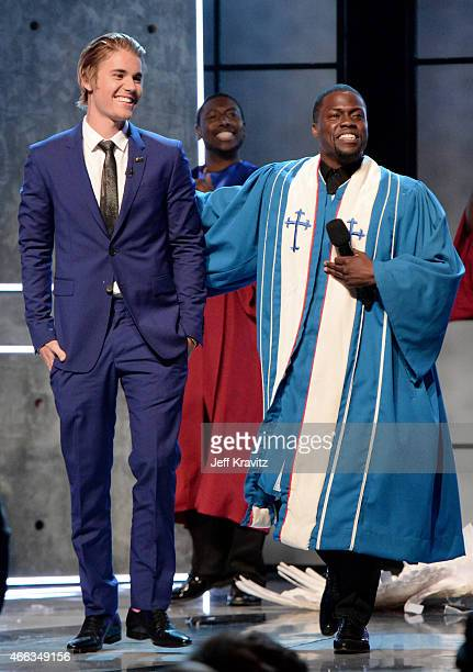 Honoree Justin Bieber and roast master Kevin Hart perform onstage at The Comedy Central Roast of Justin Bieber at Sony Pictures Studios on March 14,...