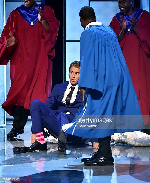Honoree Justin Bieber and roastmaster Kevin Hart onstage at The Comedy Central Roast of Justin Bieber at Sony Pictures Studios on March 14 2015 in...