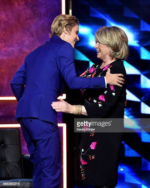 Honoree Justin Bieber and TV personality Martha Stewart onstage at The Comedy Central Roast of Justin Bieber at Sony Pictures Studios on March 14...