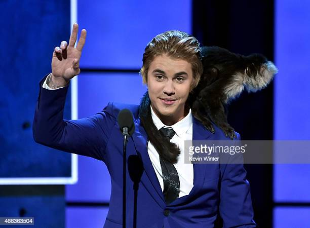 Honoree Justin Bieber speaks onstage at The Comedy Central Roast of Justin Bieber at Sony Pictures Studios on March 14, 2015 in Los Angeles,...