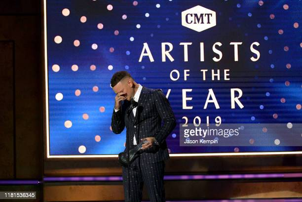 Honoree Kane Brown accepts an award onstage during the 2019 CMT Artist of the Year at Schermerhorn Symphony Center on October 16 2019 in Nashville...