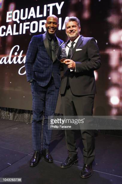Honoree Karamo Brown and EQCA Honoree Michael Williams speak onstage at the Equality California 2018 Los Angeles Equality Awards at JW Marriott Los...