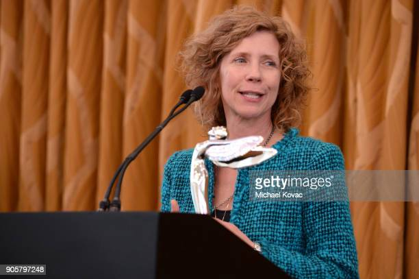 Honoree Karen DufilhoRosen accepts The Distinguished Leadership Award onstage at the Advanced Imaging Society 2018 Lumiere Technology Awards...